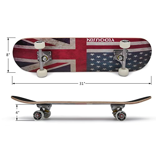 PUENTE-31-Inch-Complete-Skateboard-8-Layer-Canadian-Maple-Wood-Double-Kick-Concave-Skateboards-Tricks-Skate-Board-for-Beginners-and-Pro-0-1