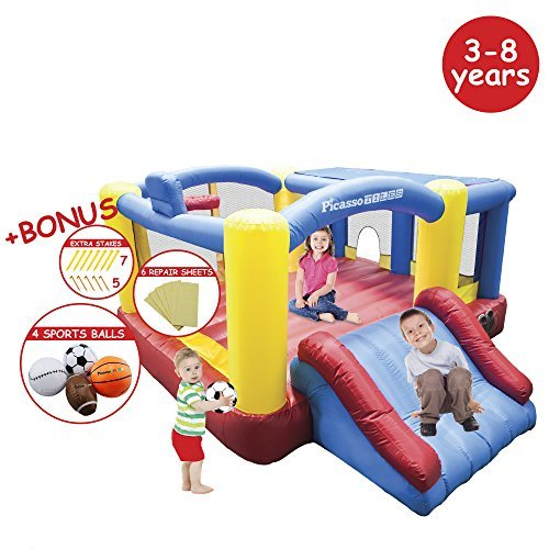 PicassoTiles-KC102-12×10-Foot-Inflatable-Bouncer-Jumping-Bouncing-House-Jump-Slide-and-Dunk-Playhouse-Featuring-Basketball-Dunking-Rim-4-Sports-Balls-Extended-Slider-Full-Size-Entry-Quick-Setup-0