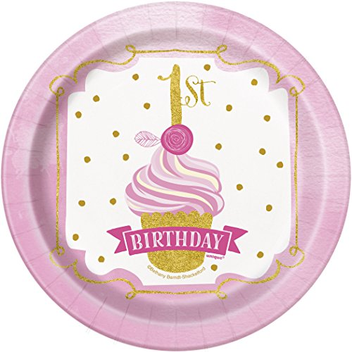 Pink And Gold 1st Birthday Party Bundle Plates, Napkins