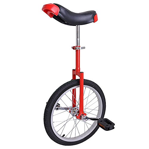 Pro-Red-18-inch-Wheel-Rim-Unicycle-w-Comfy-Saddle-Seat-Steel-Fork-Frame-Rubber-Tire-for-Adult-Cycling-Bike-Balance-Ride-Road-Mountain-Practice-Recreational-0