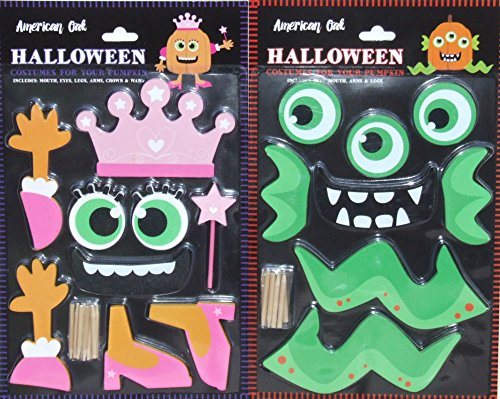 Pumpkin-Decor-Kit-Push-In-No-Carving-for-Fall-Halloween-Thanksgiving-2pk-Princess-Monster-0