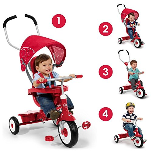 Radio-Flyer-4-in-1-Trike-Red-Childrens-Tricycle-Push-Handle-Unique-Stroller-Style-Canopy-Sturdy-Steel-Frame-Adjustable-Seat-0-1