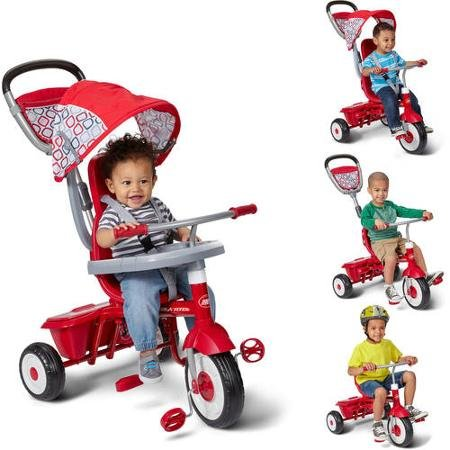 Radio-Flyer-Ez-Quick-Fold-Stroll-N-Sturdy-Steel-Frame-4-Ways-to-Ride-Childrens-Red-Trike-with-Height-adjustable-Push-handle-and-Canopy-0-0