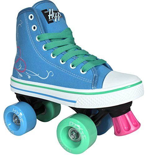 Roller-Skates-for-Girls-HYPE-Pixie-Kids-Quad-Roller-Skates-with-High-Top-Shoe-Style-for-Indoor-Outdoor-Skating-Durable-Easy-to-Skate-Made-for-Kids-Blue-Pink-0-0