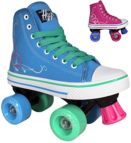 Roller-Skates-for-Girls-HYPE-Pixie-Kids-Quad-Roller-Skates-with-High-Top-Shoe-Style-for-Indoor-Outdoor-Skating-Durable-Easy-to-Skate-Made-for-Kids-Blue-Pink-0