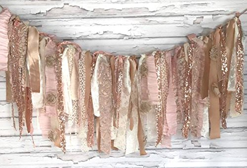 Rose gold sparkle shabby chic rag tie garland photo for Shabby chic garland lights