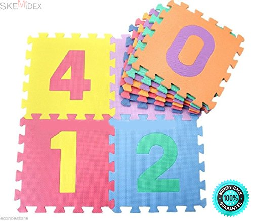 SKEMiDEX-10pcs-Infant-Kids-Learning-Number-Puzzle-Safety-Foam-123-Mat-Floor-Play-Mats-Large-and-colorful-puzzle-interlocking-mat-for-learning-developmental-skills-or-playtime-0