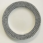 Set-Of-4-Each-White-With-A-Different-Black-Pattern-On-The-Rim-Lunch-Salad-Dessert-Plates-Large-And-Small-Dots-Decorate-The-Rim-8-inches-0-0