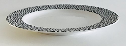 Set-Of-4-Each-White-With-A-Different-Black-Pattern-On-The-Rim-Lunch-Salad-Dessert-Plates-Large-And-Small-Dots-Decorate-The-Rim-8-inches-0-1