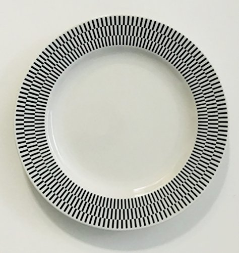 Set-Of-4-Each-White-With-A-Different-Black-Pattern-On-The-Rim-Lunch-Salad-Dessert-Plates-Large-And-Small-Dots-Decorate-The-Rim-8-inches-0-2