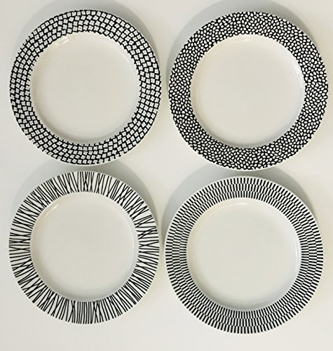 Set-Of-4-Each-White-With-A-Different-Black-Pattern-On-The-Rim-Lunch-Salad-Dessert-Plates-Large-And-Small-Dots-Decorate-The-Rim-8-inches-0