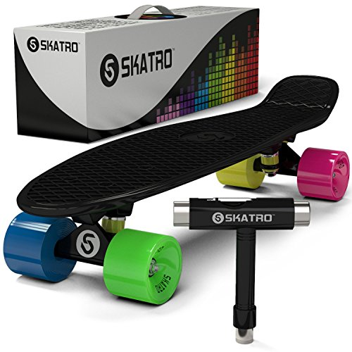 Skatro-Mini-Cruiser-Skateboard-22x6inch-Retro-Style-Plastic-Board-Comes-Complete-0