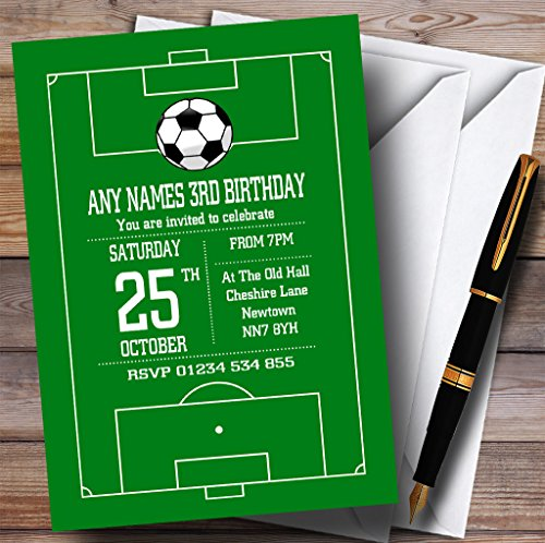 Soccer Football Pitch Green Childrens Birthday Party Invitations