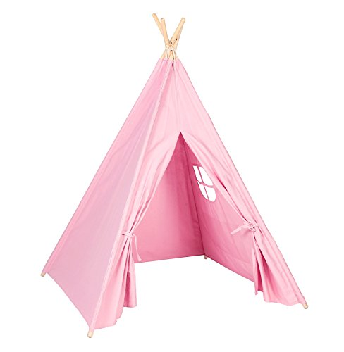 Steegic-Outdoor-and-Indoor-Great-Canvas-Indian-Teepee-Playhouse-for-Kids-Pink-0-0