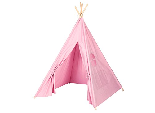 Steegic-Outdoor-and-Indoor-Great-Canvas-Indian-Teepee-Playhouse-for-Kids-Pink-0-1