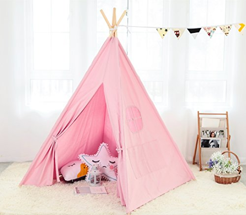 Steegic-Outdoor-and-Indoor-Great-Canvas-Indian-Teepee-Playhouse-for-Kids-Pink-0