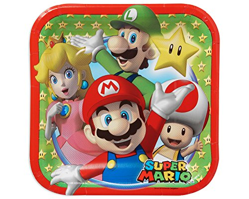 Swank-Super-Mario-Brothers-Birthday-Party-Square-Dessert-Paper-Plates-0