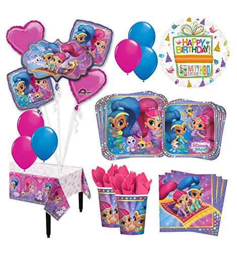 The Ultimate 8 Guest 53pc Shimmer And Shine Birthday Party Supplies Balloon Decoration Kit
