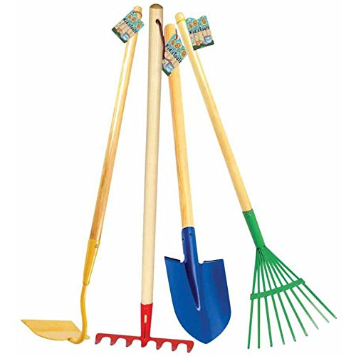 Toysmith 4 pieces children shovel hoe leaf rake and rake for Gardening tools 4 letters