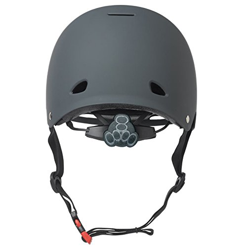 Triple-8-Gotham-Black-Rubber-Bike-and-Skateboard-Helmet-with-Protective-Pads-0-1