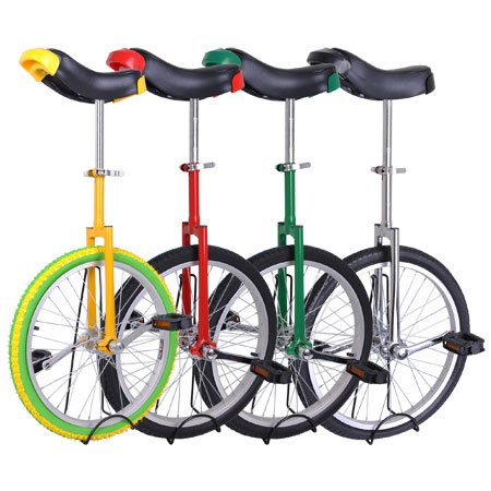 Unicycle-18-Wheel-with-Large-Saddle-in-Unique-Design-with-Heavy-Duty-Unicyle-Stand-0