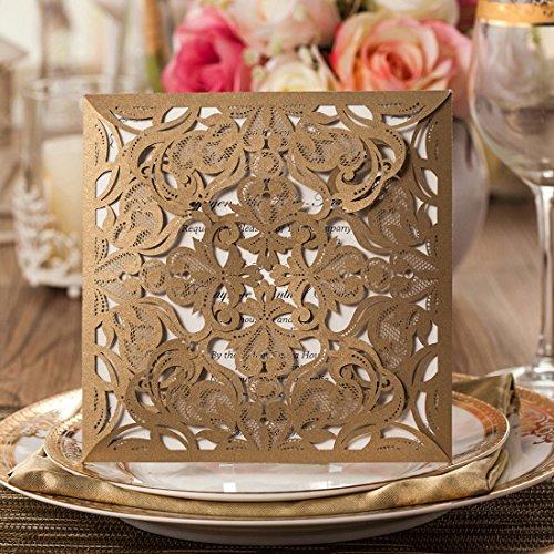 Brides Wedding Invitation Kit: Wishmade Gold Square Lace Laser Cut Wedding Invitations