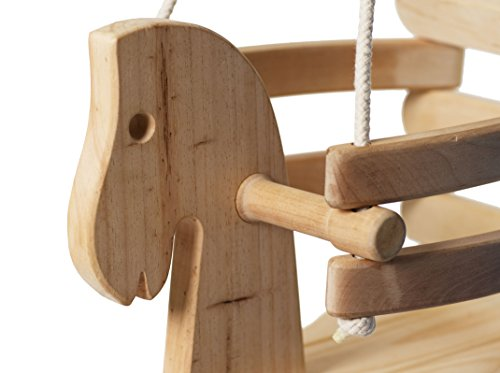 Wooden Horse Swing Set For Toddlers Smooth Birch Wood